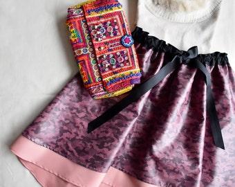 Free size Midi Skirt,Pièce Unique, Bohemian Skirt, military Skirt, Flared Skirt, Unique Skirts, indypink skirt, Jupe imprimée, layered skirt