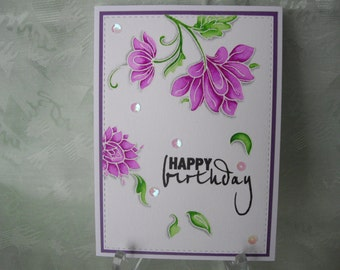 Greeting card, greeting card, happy birthday, flowers in pink watercolor