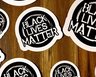 Black Lives Matter |Thin Brushed Circle Sticker | FREE SHIPPING