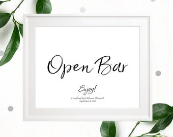 Open Bar Printable Sign-Stylish Hand Lettered Calligraphy Open Bar Wedding Sign-DIY Handwritten Style Wedding Reception Drinks Sign-Bar Sign