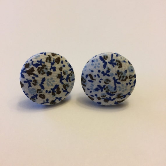 Blue and White Flower Cuff Links