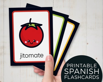 Spanish Vegetable Flash Cards for Kids - Print, Cut and Learn Spanish Flashcards - Printable Spanish Educational Cards for preschool