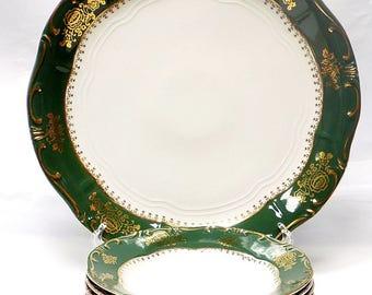 Zsolnay Hungary porcelain pecs hand painterDessert Bowl with 7 cute plates Housewarming Gift~Christmas Gift set~German Porcelain~Gift~