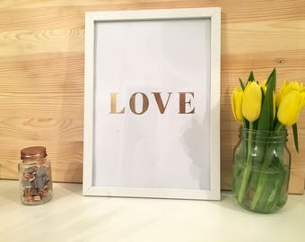 Rose Gold Lettering LOVE Framed Print