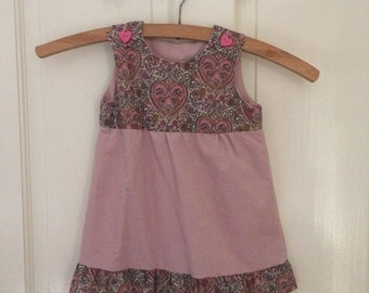 Liberty fabric and fine cord baby dress 3m