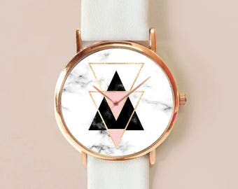Marble Watch, Marble Watch Marble Jewelry, Vintage Leather Watch, Women Watches, Roses , Gift for her, Marble Print, Watches, Gift