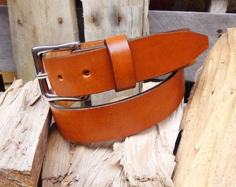 "1 1/2"" Wide, Tan Leather Belt, Leather belt, Full Grain Leather"