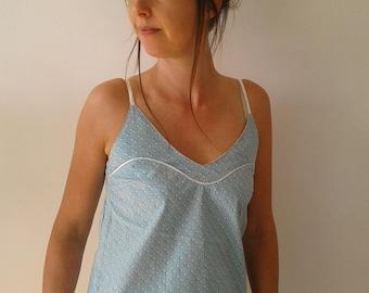 Top top top thin straps femle cotton prints blue