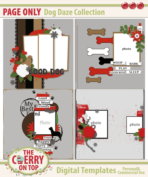 Dog Daze Digital Scrapbooking Templates Page Files