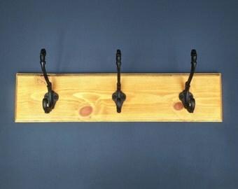 3 Hook Wooden Coat Rack