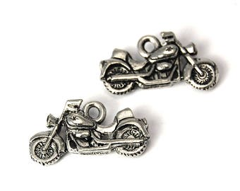 2pc, Motorcycle charm, Pewter