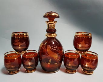 RARE Stunning Bohemian Decanter Set with Six Glasses, Leaping Stag Design