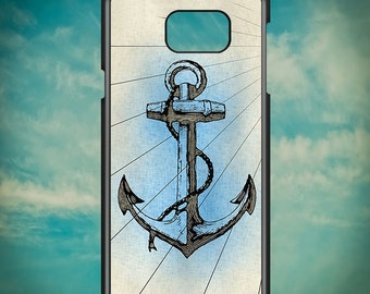 Vintage Blue Anchor for Samsung Galaxy Note 3, Samsung Galaxy Note 4, Samsung Galaxy Note 5, Electronic Phone Case