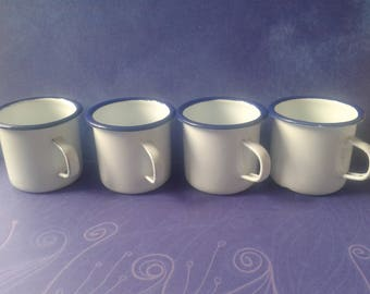 4 small enamel cups, white mugs