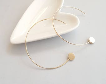 Circle Threader, Gold Threader, Gold Threader Earring,Circle Threader,Geo Threader Earrings, Geo Threader Earrings, Modern Threader Earrings