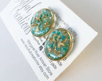 Turquoise 22k Gold Plated Resin Stud Earrings