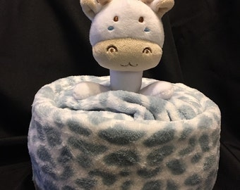 Giraffe Diaper Cake Gift With Plush Blanket And A Security Blanket