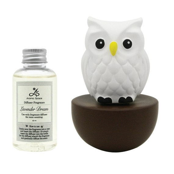 LIVELY BREEZE Ceramic Diffuser Set- Blinky Owl (Brown)& Lavender Dream Home Fragrance