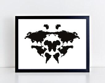 Rorschach poster,  rorschach wall art, psychology Print, Rorschach Print, psychologist art, poster for psychologist