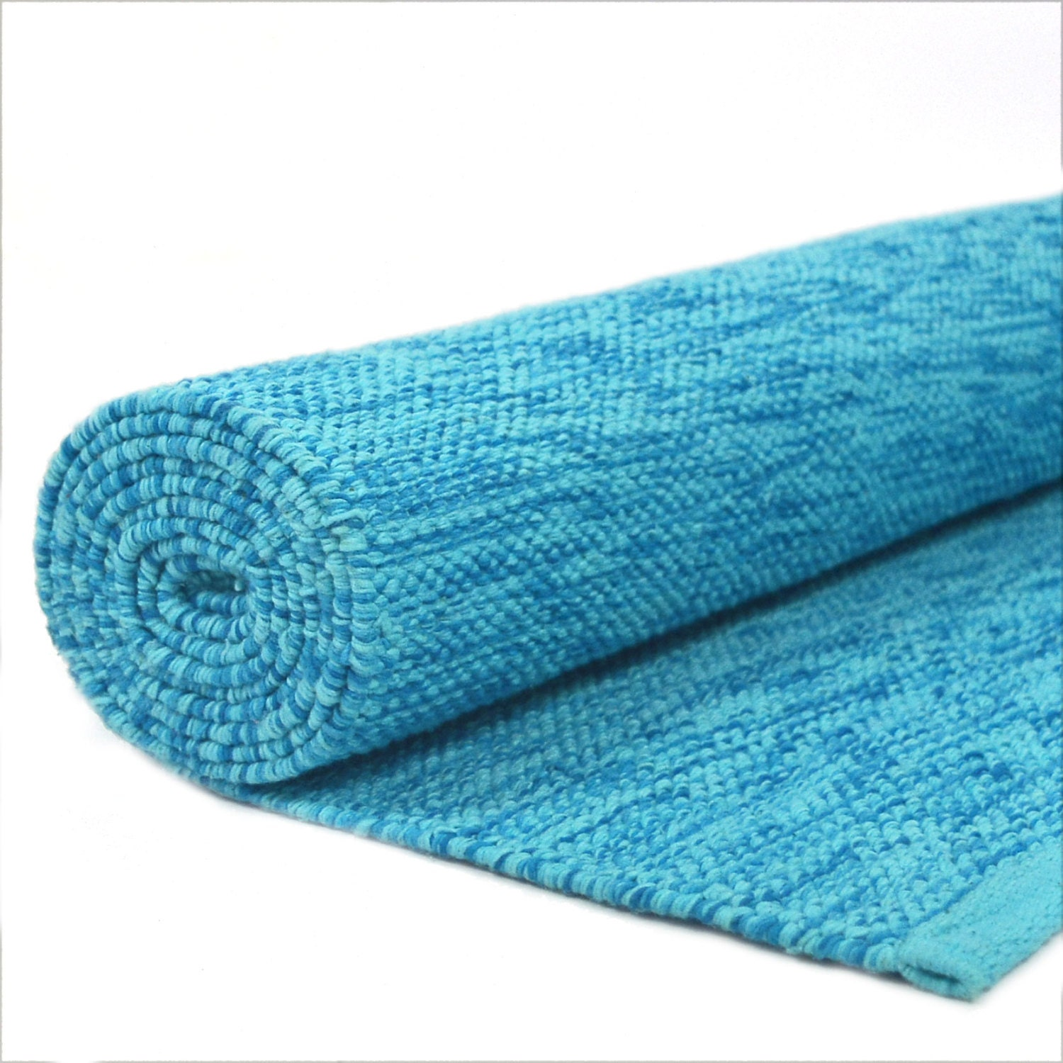 Cotton Yoga Mat Handwoven Blue Pacific Waters Meditation Mat