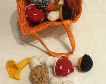 Knitted toys. mushrooms .crochet food.  knitted mushrooms