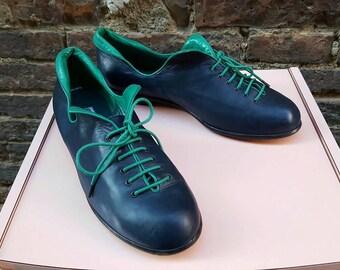 Scarpe Gianni Ziliotto design anni 90 bicolore blu verde basse con lacci/ original vintage design made in Italy flat shoes 90s bicolor