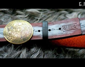 """Leather belt brass buckle """"Wotan"""" series """"Wardruna"""""""
