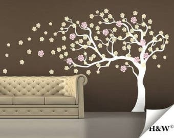 Wind Tree Wall Decal cherry blossom tree Spring Trees blowing flower flowers floral room house wall sticker Murals stickers decor  H885