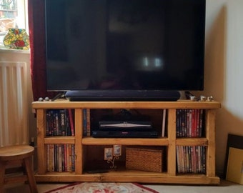 Rustic / Chunky Solid Timber TV Stand / Storage Unit