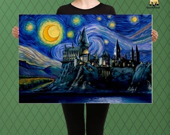 Harry Potter Inspired, Hogwarts, Hogwarts Parody Castle Starry Night, Custom Raised Canvas Art Piece