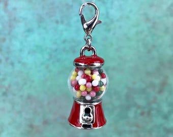 Gumball Machine Charm, Gum Ball Machine, Candy, Charm Bracelet, 3D Charm, Lobster Claw Clasp