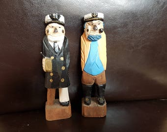 Pair of Hand carved Wooden Sea captains