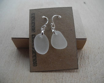 Sea glass earrings, White/Clear sea glass, gift, present