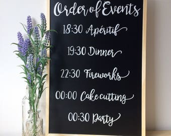 Order of Events - Personalised Chalkboard