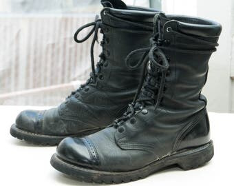 "CORCORAN Women's 10"" Combat Boot, sz 8.5 -- Made in USA ! --> Black Leather"