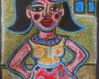 Confident Woman -Strong Woman Original Oil Pastel Drawing