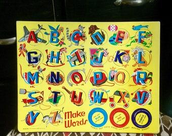 Vintage Built-Rite Make Words A B C's Sta-n-Place Puzzle