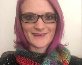 Rainbow crochet infinity scarf