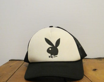 PLAYBOY Bunny Authentic Vintage B&W Trucker Cap Hat Mesh Braid Rope