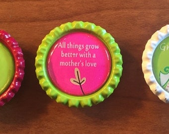Handmade Mom & Grandma 1 inch Bottlecap Magnets, Set of 3
