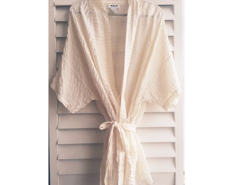 Cream Pearl Silk Robe