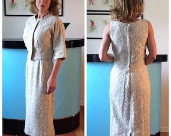 ivory lace wiggle dress with jacket 1950's vintage