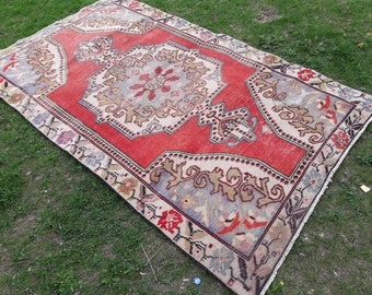 Vintage Oushak rug,Turkish rug ,faded muted colored decorative rug home of vintage rug, boho rug ,vintage oushak rug,4'2×7'2 ft /130×221 cm.