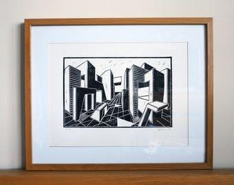 Blockscape West - Original Lino Print.