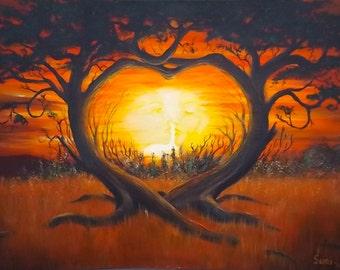 "Love Tree By Ralph Suny 14 1/2"" X 9 1/2"" Acrylic"