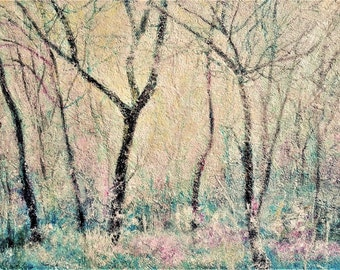 Free shipping Winter landscape, Original Acrylic Painting, Original Artwork, Living Room Decor, Nature, Forest in Winter Size:32x44,5 cm