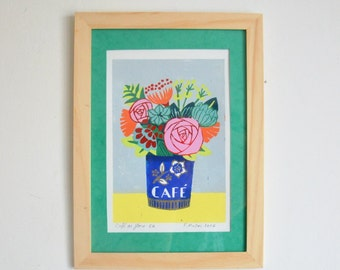 """Linocut in reduction """"Coffee of flora"""""""
