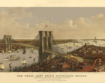 East River Bridge New York Map, Birds Eye View, Cartography, Illustrated, Panoramic, Map, Vintage Maps, Pictorial Map, Lithograph