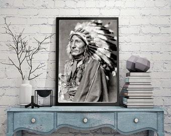 Native American Photo, Indigenous Americans, Dakota Indian, Headdress, Photograph of American Indian, Black White Photography