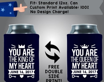 You are the King of My Heart Date You are the Queen of My Heart Date Collapsible Fabric Wedding Cooler Double Side Print (w32)